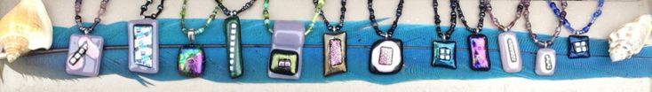 Fused Glass pendants beaded necklaces