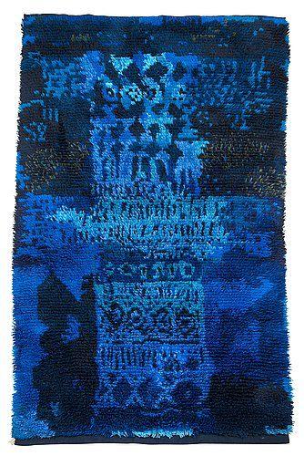 Finnish textile artist Ritva Puotila; Wool rya rug 'Zeus' for the wall, made for Suomen Käsityön Ystävät Oy, 1959.