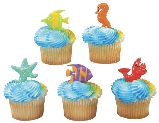 Details about 12 Sealife Friends Cupcake Party Picks LUAU Ocean