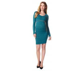 Turkooise zwangerschapsjurk met lange mouwen.