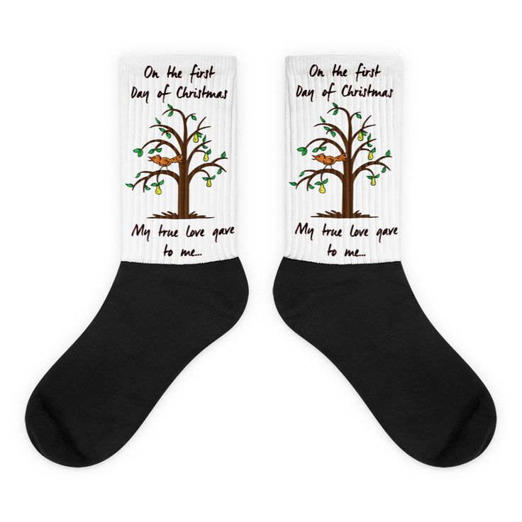 Partridge Tree - Unisex Black Foot Socks