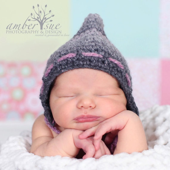 Knit Crochet Baby Girl Pixie Gnome Bonnet Hood by OopsIKnitItAgain, $22.00: Baby Girl