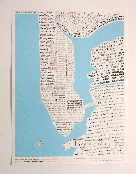 New York, New York  hand-drawn map of New York City, constructed entirely out of Regina Spektor lyrics.  Quite cool