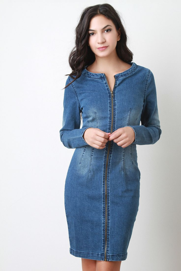 Description This chic midi length dress features a denim fabric, long sleeves design, rounded neckline, large cutout back, and full-length front zipper closure. Accessories sold separately. Made in U.