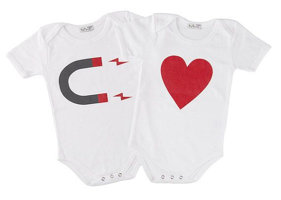 Twin Onesies Heart Magnet by myTwinsCollection on Etsy