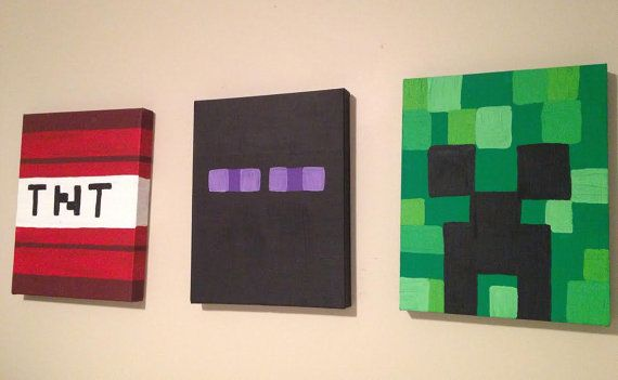 Hand painted Minecraft Inspired Wall Art for Kids. on Etsy. And you can customize it.