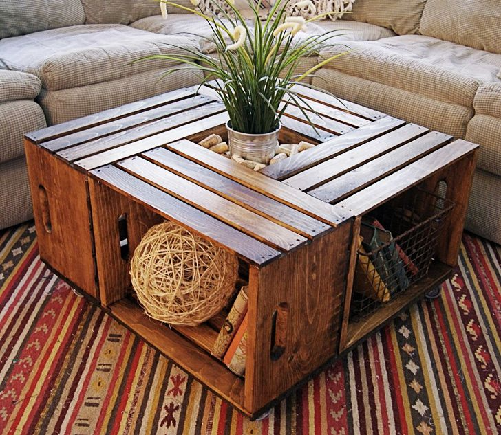 Make your own crate coffee table - love this! I could see it in white, black etc....