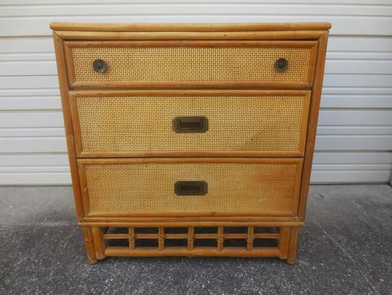 Bamboo Bachelor Chest Of 3 Drawers Rattan Cane Hollywood Regency Small Dresser Large Nightstand Palm Beach Campaigner Cottage Coastal Small Dresser Large Nightstands Bachelors Chest