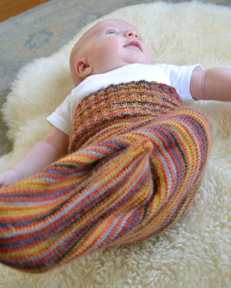Free Knitting Pattern for Baby Kicking Bag - Annika's design is great way to use up leftover stash sock yarn to create a one of kind gift. Pictured project by MirabaiKnits sleep sack cocoon