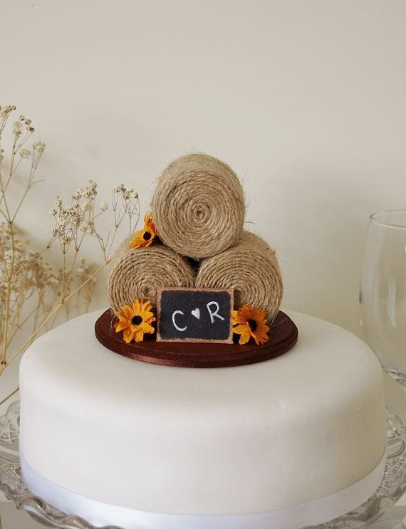 Sunflower Hay Bale Cake Topper Country wedding by TiaLovesArchie