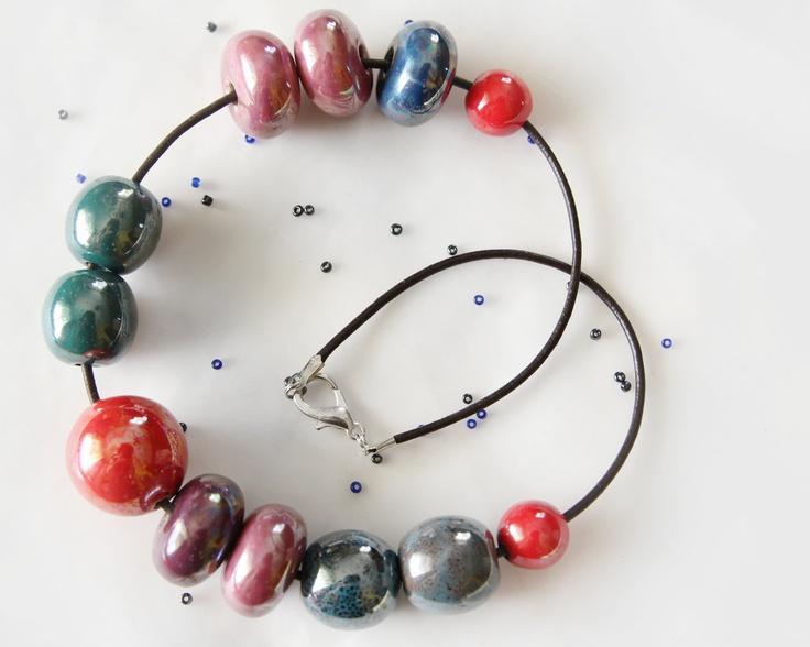 Colorful ceramic necklace, handmade ceramic jewelry modern ceramic jewellery. $45.90, via Etsy.