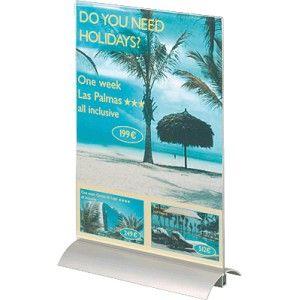 Expositor de información con base de aluminio y soporte de material acrílico transparente.  La documentación se inserta y se extrae con facilidad y es visible por ambas caras.