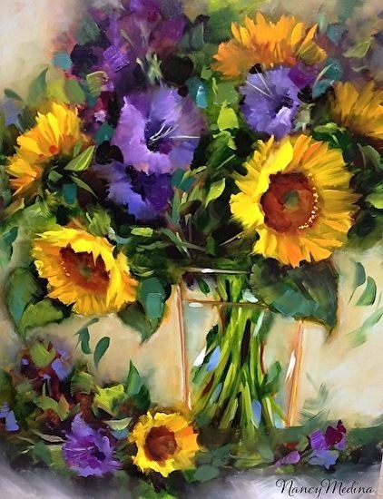 Warm Glads and Sunflowers by Nancy Medina Oil ~ 20 x 16