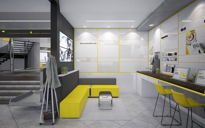 Download wallpapers office, 4k, stylish interior, office interior, yellow sofa, modern design, interior idea