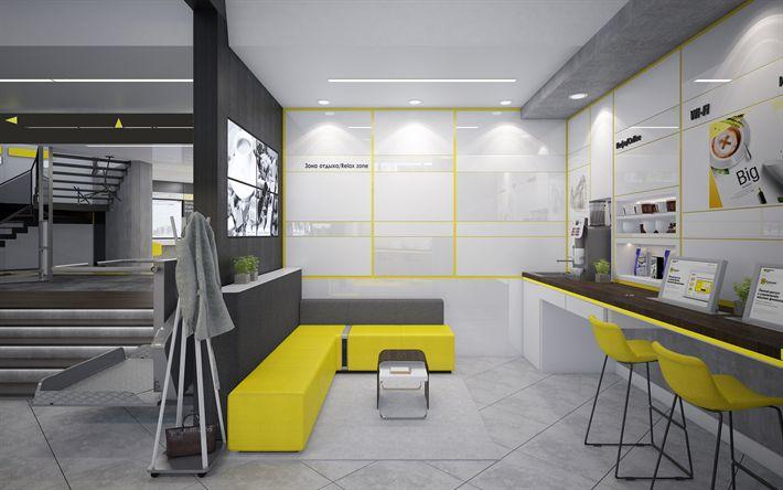 Download wallpapers office, 4k, stylish interior, office interior, yellow sofa, modern design, interior idea