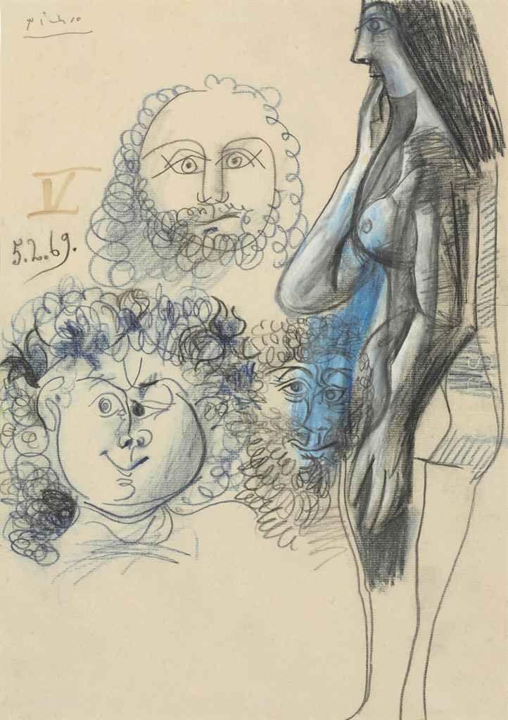 Pablo Picasso (1881-1973)  Nu debout et trois têtes d'hommes