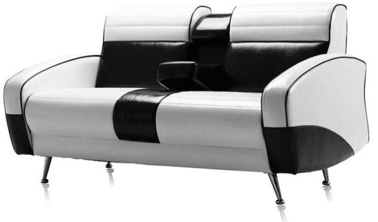 Ce mod le de sofa r tro bicolor est directement inspir - Manieres creer decor inspire annees ...