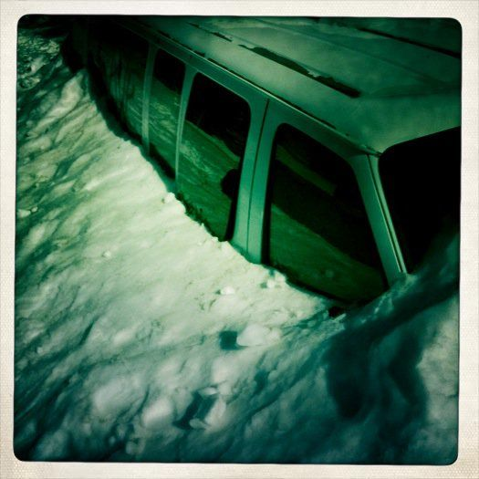 This picture was taken in Tahoe on a skii trip after a large amount of snow had accumulated up against and around this van. Although there hadn't been a storm, this goes to show how unpredictable nature can be.
