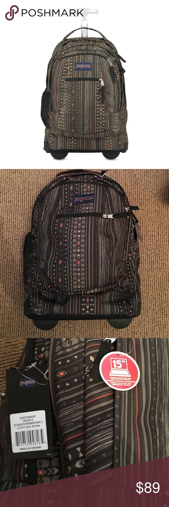 Jansport rolling backpack Patterned backpack (jansports downtown brown color) with optional back straps and wheels for multi purpose use. Very spacious and many pockets with a padded laptop sleeve for up to a 15'' laptop. Jansport Bags Backpacks