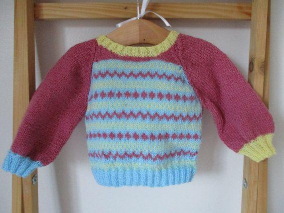 Baby fair isle jumper  Newborn Baby Girl top  by WilverlyWoollens