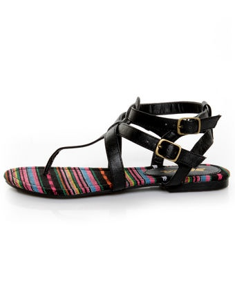 Soda Tam Black T & Ankle Strap Thong Sandals