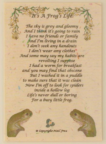 the secret life of frogs poetry Start studying english b- 1 learn vocabulary,  new york: houghton mifflin company, 1983 poetry  the lawyer loses fifteen years of his life and i throw away.