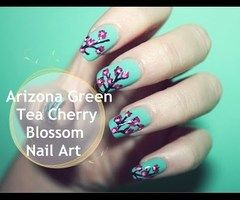Arizona Green Tea Cherry Blossom Nail Art ❤ - YouTube