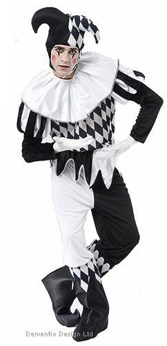 MENS BW MEDIEVAL JESTER 80s CIRCUS CLOWN HARLEQUIN HALLOWEEN FANCY DRESS COSTUME | eBay  chris maybe?
