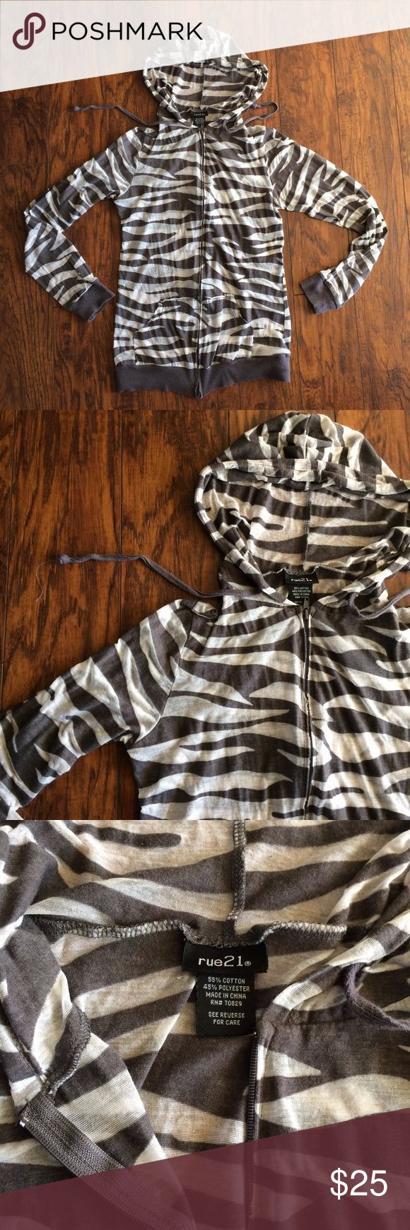 Zebra Print Zip Up Small Hoodie Jacket cute zebra ( animal print ) zip up hoodie jacket in size small from Rue 21 Rue 21 Tops