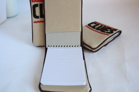 Fabric covered notebook for the budding detective to write clues in! Notebook cover is beige with dark brown piping and black felt letters. The notebook is a standard size so it can be replaced once used up. Also available as part of the Nancy Drew Detective Kit, see my shop