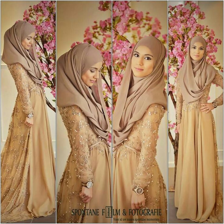 Caramel-coloured muslim dress