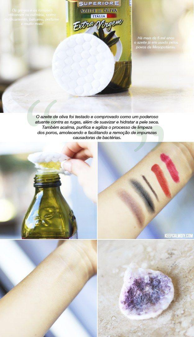Azeite de oliva vira um demaquilante natural perfeito para tirar rímel à prova d'água. | 20 receitas caseiras de beleza para testar no fim de semana
