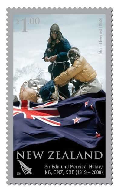 New Zealand stamp commemorating Hillary's historic world-first climb to the top of Mount Everest with Sherpa Tenzing Norgay on 29 May 1953.