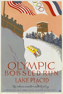 Works Progress Administration poster from the late 1930s to advertise public access to the bobsled run from the 1932 Winter Olympics in Lake Placid, New York