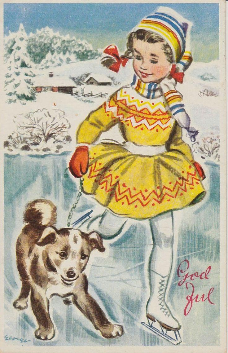Julekort George Schumann Oppi forlag brukt 1955