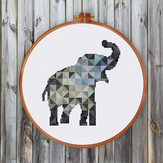 Geometric Elephant cross stitch pattern decor