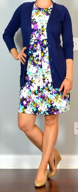 outfit post: purple sleeveless floral ponte dress, navy boyfriend cardigan, nude wedges | Outfit Posts
