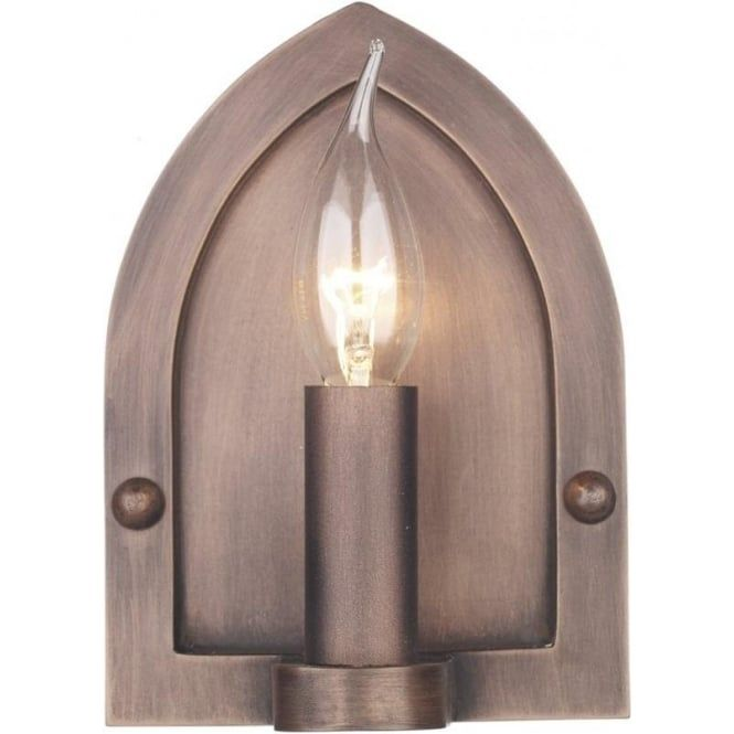 Copper Medieval Candle Style Wall Light with Gothic Arch Back  sc 1 st  Pinterest & 80 best Medieval Style Lighting images on Pinterest   Light ... azcodes.com
