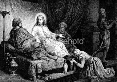 gallery of  bida engravings | Mary Magdalene Anoints the Feet of Jesus Christ Royalty Free Stock ...