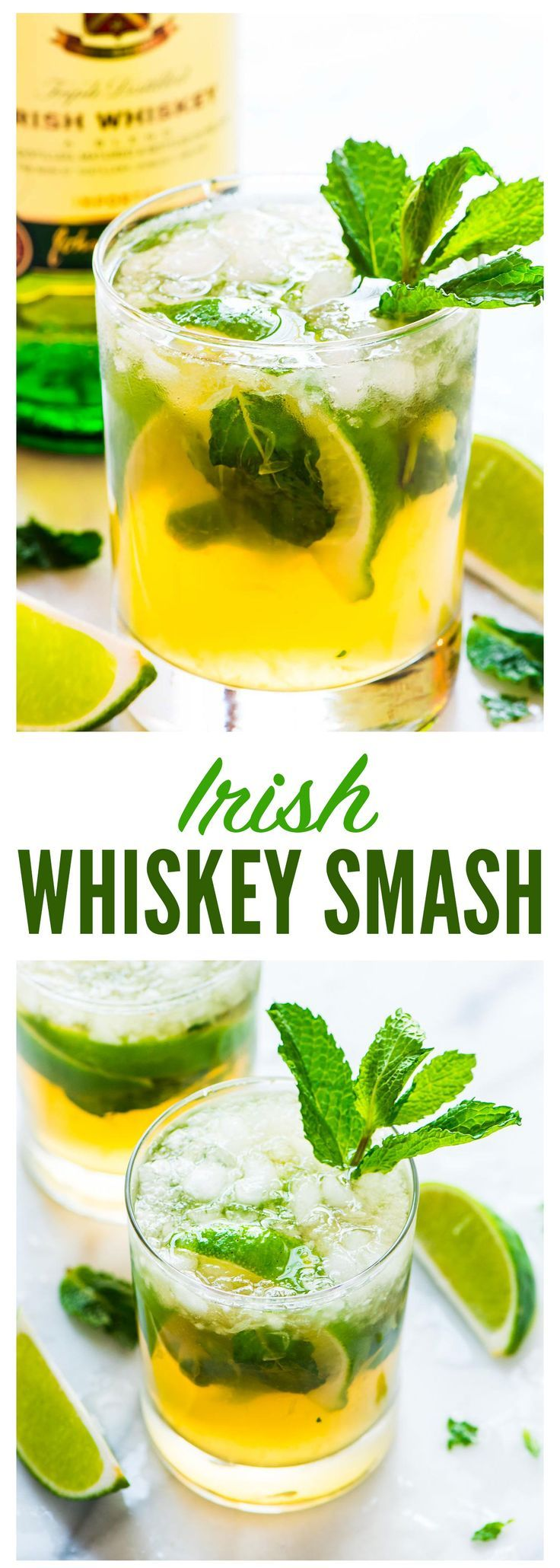 Irish Whiskey Smash — St. Patrick's Day twist on the classic whiskey smash cocktail, which calls for lemons, whiskey, simple syrup, mint. This festive version uses Irish whiskey and lime to make it a green drink! Recipe at wellplated.com | @wellplated