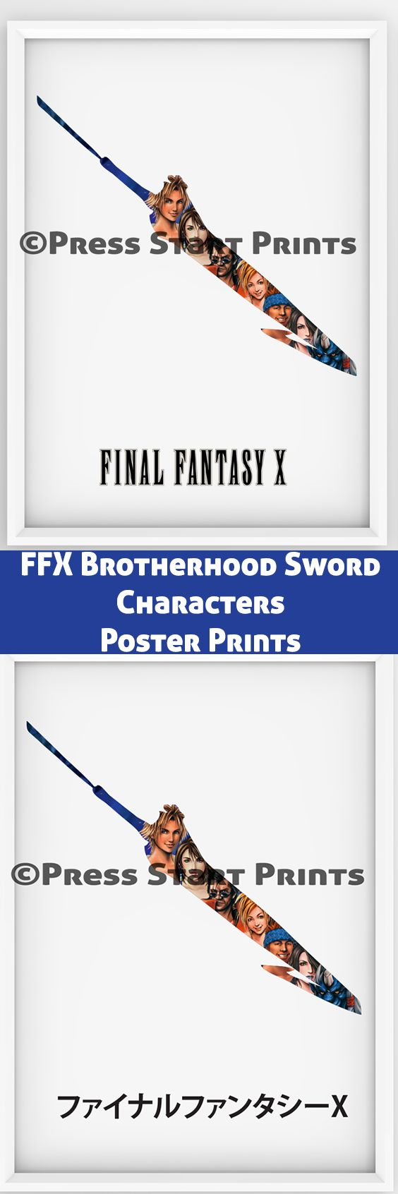 Relive the journey to Zanarkand and beyond with this set of 2 instant downloadable posters of FFX Brotherhood sword and characters. One is in English and the other in Japanese. Check out at https://www.etsy.com/nz/listing/521719669/final-fantasy-x-character-and-sword? More gaming prints available