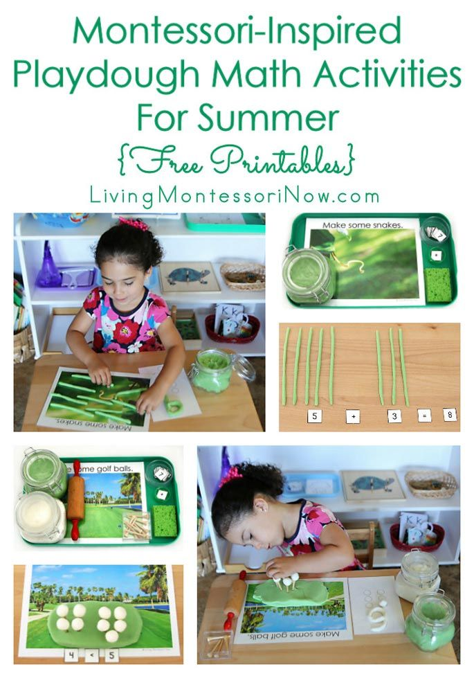 Montessori-inspired playdough math activities with a snake and golf ball theme using a free summer playdough math pack; perfect for home or classroom!