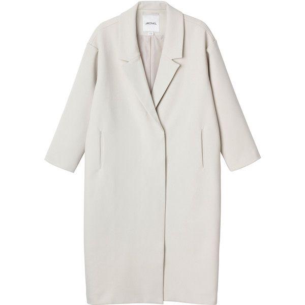 Dana coat (400 MYR) ❤ liked on Polyvore featuring outerwear, coats, jackets, coats & jackets, monki, white winter coat, ivory coat, double-breasted coat and lapel coat
