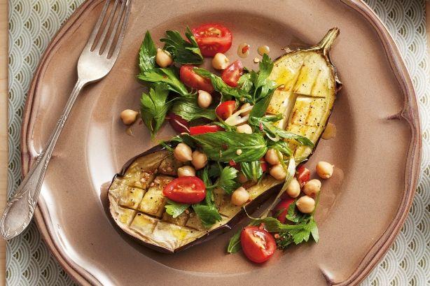 Warm roasted eggplant salad