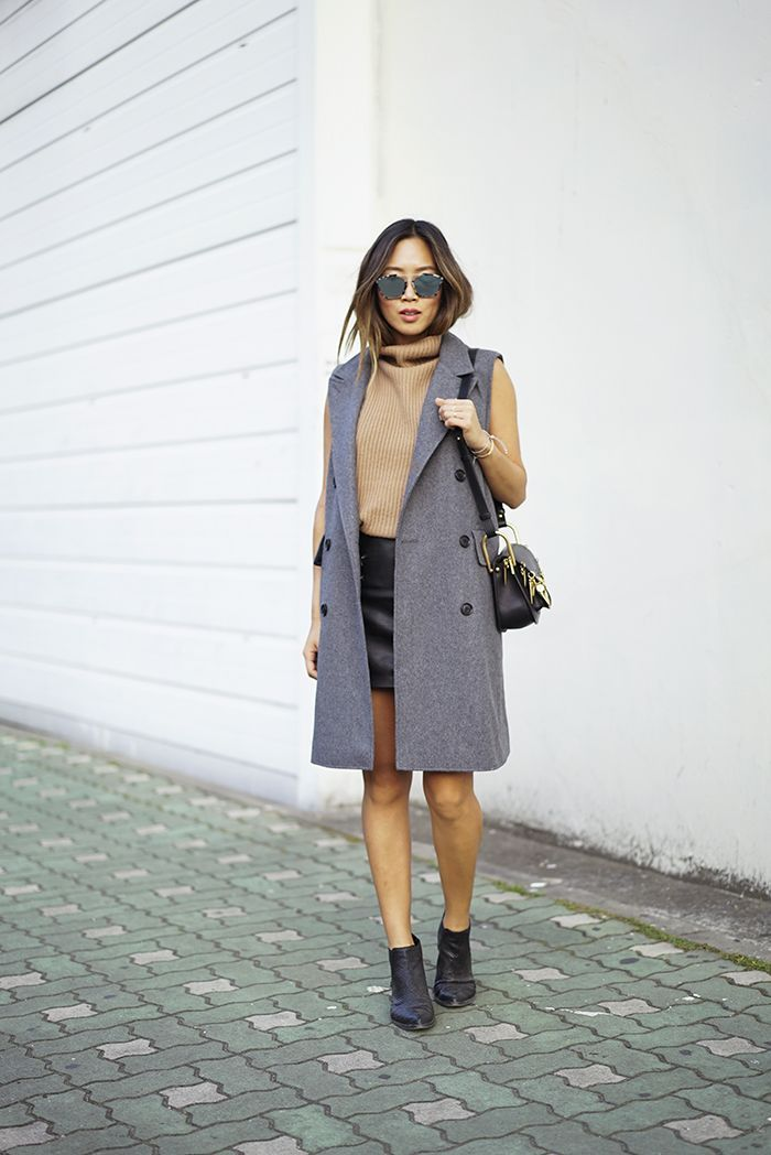 cute long trench vest and ribbed turtleneck top