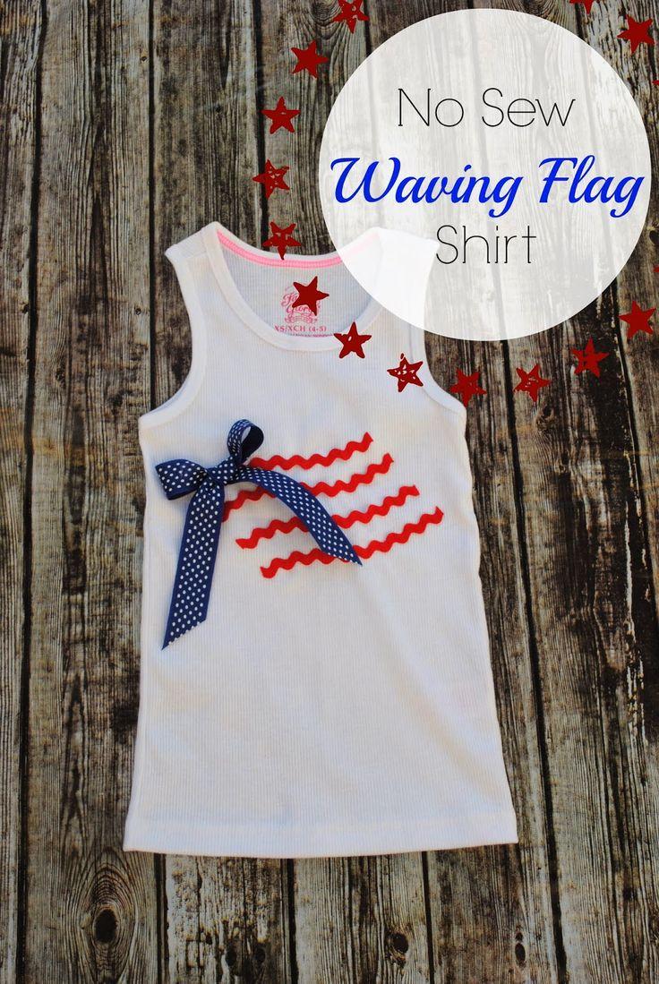 No Sew Waving American Flag Shiirt