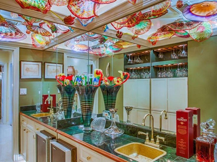 Eclectic Bar with Paint, Crown molding, Whitehaus brass sink, Chandelier, Daltile empress green marble, Box ceiling