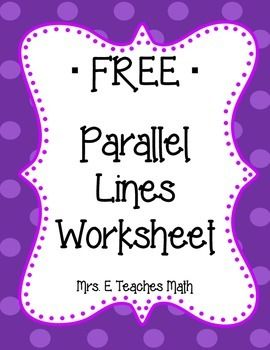 Parallel Lines with Transversals Worksheet | Math | Teaching ...