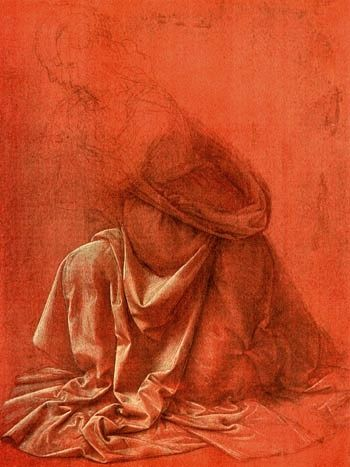 Leonardo (the Lion of Vinci)  1452-1519, Italy  Study of drapery of a woman kneeling to left  c. 1477  Silverpoint on red surface heightened with white  25.8 x 19.5 cm  Corsini Gallery, Rome.