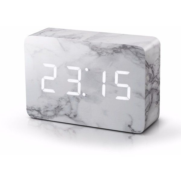 Gingko Electronics   Brick Marble Click Clock ($80) ❤ Liked On Polyvore  Featuring Home